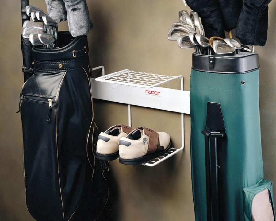 Double golf bag rack